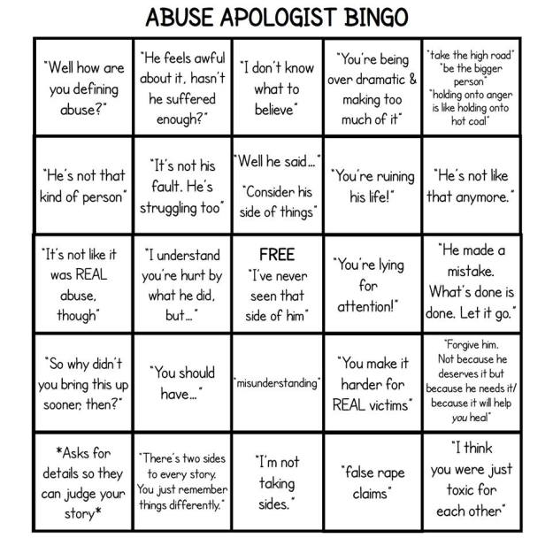 AbuseApologistBingo